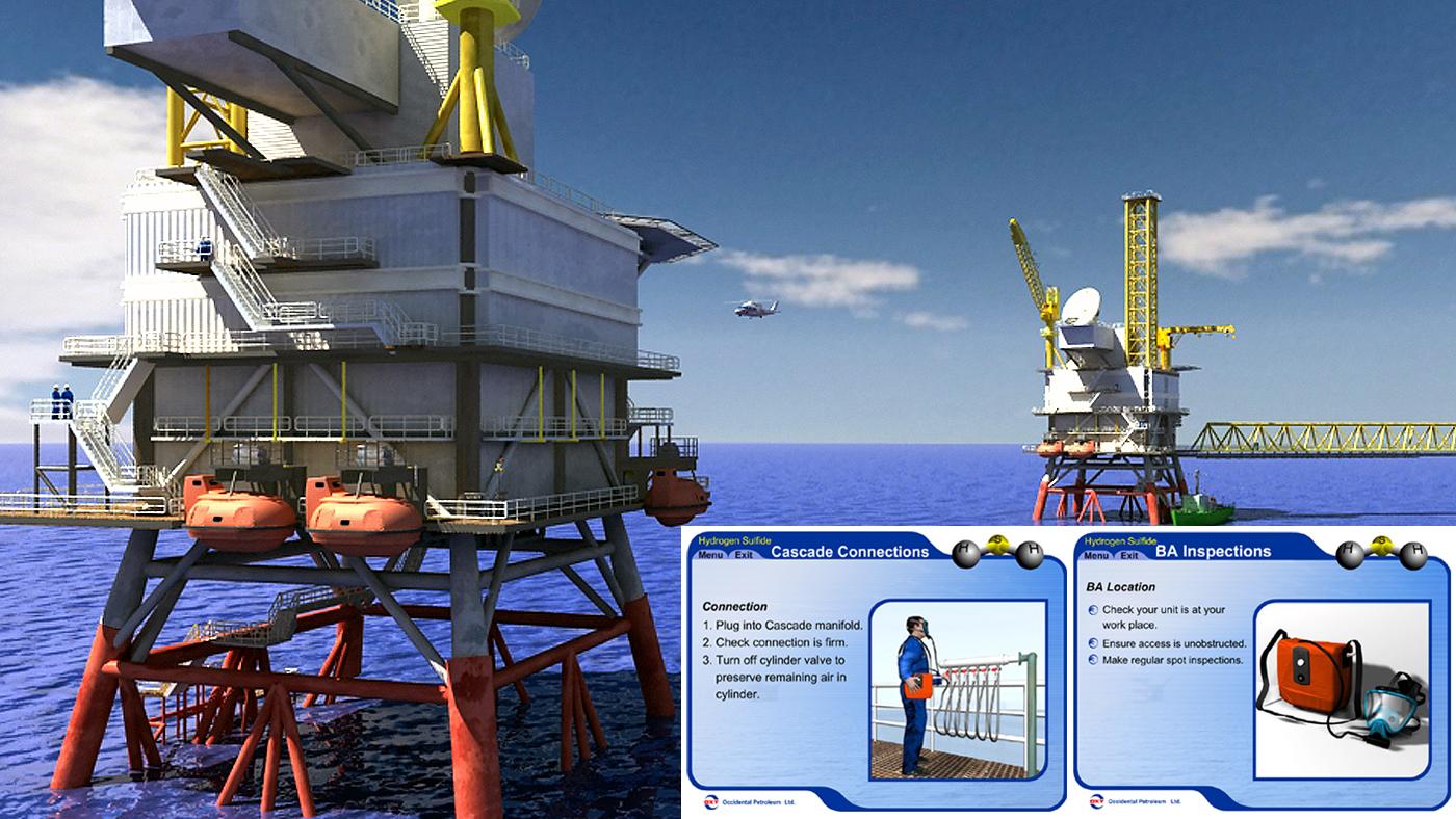 3d oil rig, occidental petroleum, hse training, interactive presentation